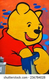 MONTREAL CANADA DEC 02: Street art Montreal Winnie the pooh on dec 02 2014 in Montreal Canada. Montreal. is the perfect place to walk in the back alleys and abandoned areas, looking street art.