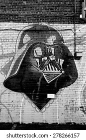 MONTREAL CANADA DEC 02: Street art Montreal Darth Vador on dec 02 2014 in Montreal Canada. Montreal. is the perfect place to walk in the back alleys and abandoned areas, looking for street art.