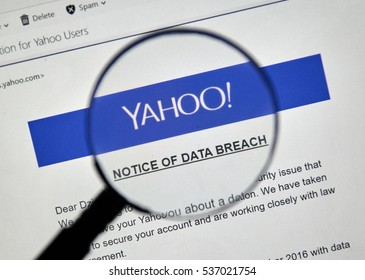 MONTREAL, CANADA - DECEMBER 15, 2016 : Yahoo Notice of newly discovered data breach under magnifying glass.