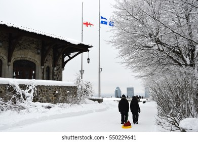 Montreal, Canada - December 21, 2014: Montreal Skyline in snow, in winter, Canada. People can be seen around.