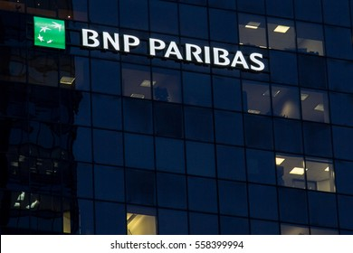 MONTREAL, CANADA - DECEMBER 22, 2016: Headquarters of the BNP Paribas Bank for Quebec in Montreal