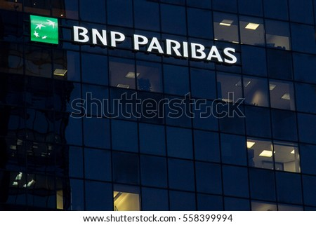 a979f921be MONTREAL, CANADA - DECEMBER 22, 2016: Headquarters of the BNP Paribas Bank  for Quebec in Montreal - Image