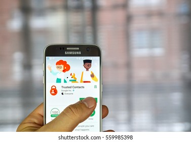 MONTREAL, CANADA - DECEMBER 23, 2016 : Google Trusted Contacts on Samsung S7 screen. Trusted Contacts is a personal safety app that opens a direct line of sharing between you and your loved ones.