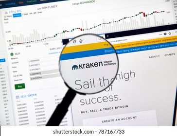 MONTREAL, CANADA - DECEMBER 23, 2017 : Kraken cryptocurrency exchange website under magnifying glass