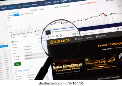 MONTREAL, CANADA - DECEMBER 23, 2017 : Binance cryptocurrency exchange website under magnifying glass
