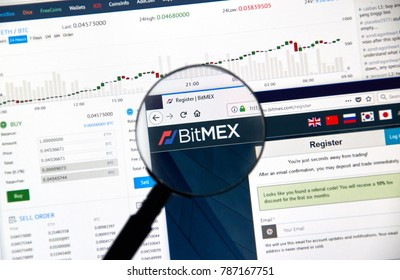 MONTREAL, CANADA - DECEMBER 23, 2017 : Bitmex cryptocurrency exchange website under magnifying glass