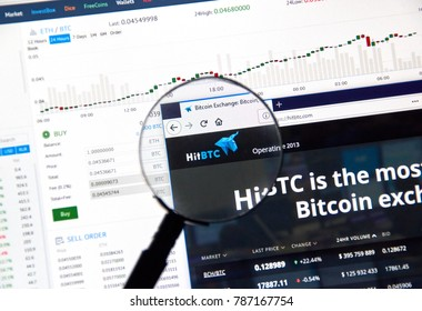 MONTREAL, CANADA - DECEMBER 23, 2017 : Hitbtc cryptocurrency exchange website under magnifying glass