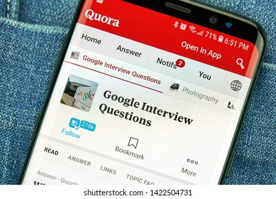 MONTREAL, CANADA - December 23, 2018: Google interview questions on Quora, android app on Samsung s8 screen. Quora is an American question and answer website where questions are asked and answered.