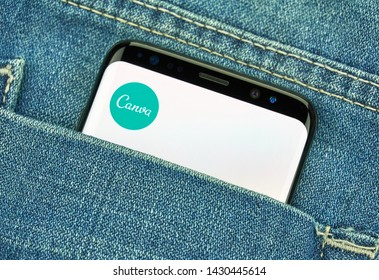 MONTREAL, CANADA - December 23, 2018: Canva android app and logo on Samsung s8 screen. Canva is a graphic-design application, tool and website