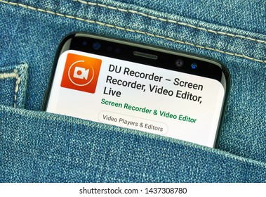 MONTREAL, CANADA - December 23, 2018: DU recorder android app on Samsung s8 screen. DU recorder is a video recorder and editor for mobile devices.