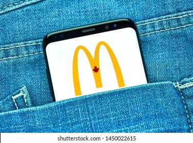 MONTREAL, CANADA - December 23, 2018: McDonalds android app on Samsung s8 screen. McDonald's is an American fast food company operated by Richard and Maurice McDonald
