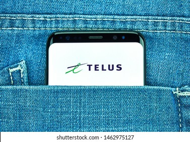 MONTREAL, CANADA - December 23, 2018: Telus android app on Samsung s8 screen. Telus is a Canadian national telecommunications company that provides a wide range of telecommunications products
