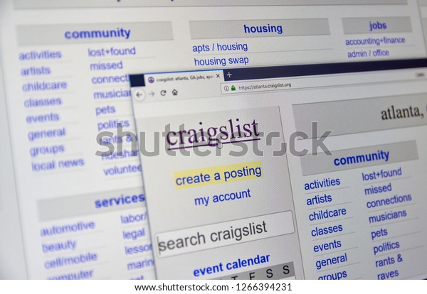 MONTREAL, CANADA - DECEMBER, 24 2018: Craigslist Atlanta home page. Craigslist is an American classified advertisements website with jobs, housing, for sale, items wanted, services, community listings