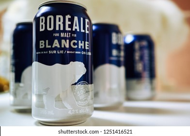 MONTREAL, CANADA - DECEMBER 4 2018: Cans of Boréale white beers from microbrewery Les Brasseurs du Nord known for its all-natural ales. Label features polar bear, and sold only in province of Quebec.