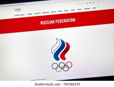 MONTREAL, CANADA - DECEMBER 5, 2017: International Olympic Committee official web page with logo Russian National Olympic Committee.