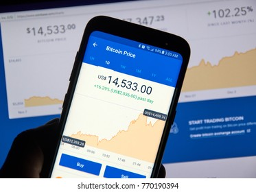 MONTREAL, CANADA - DECEMBER 7, 2017: Bitcoin USD price on Coinbase android app. Coinbase is a digital asset broker headquartered in San Francisco, California. They broker exchanges of Bitcoin