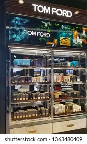 MONTREAL, CANADA - DECEMBER 8, 2018: Tom Ford perfumes stand in YUL Montreal airport. Thomas Carlyle Ford known as Tom Ford is an American fashion designer.