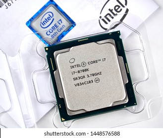 MONTREAL, CANADA - DECEMBER 8, 2018: Intel CPU central processor unit i7 8th generation in a box. Intel is an American multinational corporation and technology company headquartered in California