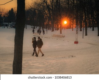 MONTREAL, CANADA - FEBRUARY 19, 2018: Families enjoy winter sports on Mont Royal in Montreal.