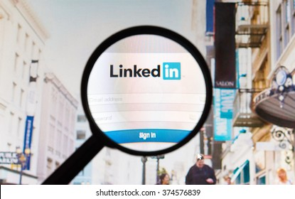 Montreal, Canada - February 2016 - LinkedIn website picture taken under a magnifying glass. Linkedin is a professional and business-oriented social networking service.