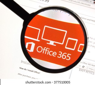 MONTREAL, CANADA - FEBRUARY, 2016 - Microsoft Office 365 on the web under magnifying glass.