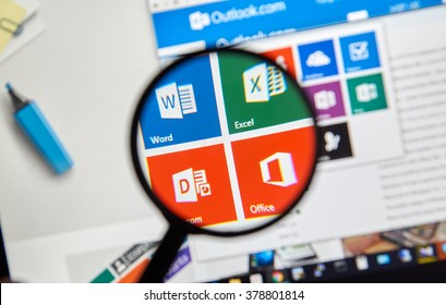 MONTREAL, CANADA - FEBRUARY, 2016 - Microsoft Office applications  on the web under magnifying glass.