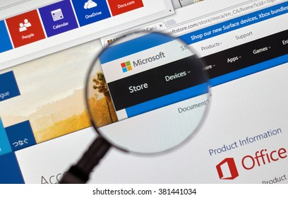MONTREAL, CANADA - FEBRUARY, 2016 - Microsoft store on the web under magnifying glass.