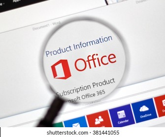 MONTREAL, CANADA - FEBRUARY, 2016 - Microsoft Office 365 on the web under magnifying glass. Office 365 is one of the most popular pack of  office applications.