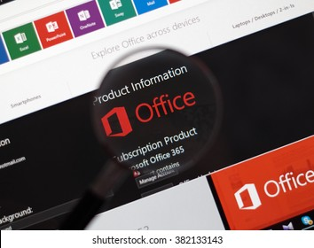 MONTREAL, CANADA - FEBRUARY, 2016 - Microsoft Office 365 Black-Red style of official desktop PC application.