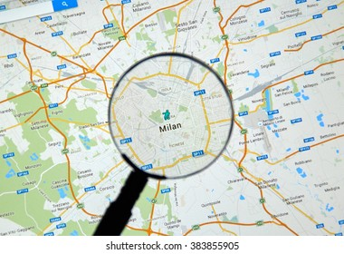 MONTREAL, CANADA - FEBRUARY, 2016 - Milan on Google Maps under magnifying glass.