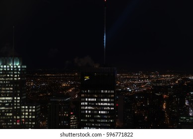 MONTREAL, CANADA - FEBRUARY 2017: Aerial View of Montreal City Downtown at Night