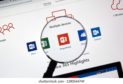 MONTREAL, CANADA - JANUARY 10, 2019: MIcrosoft Office 365 icons on a screen. Office 365 is the brand name Microsoft uses for a group of subscriptions for office software and services.