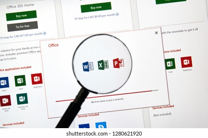 MONTREAL, CANADA - JANUARY 10, 2019: MIcrosoft Office 2019 application installation. Microsoft Office 2019 is the new version of Microsoft Office, a productivity suite, succeeding Office 2016