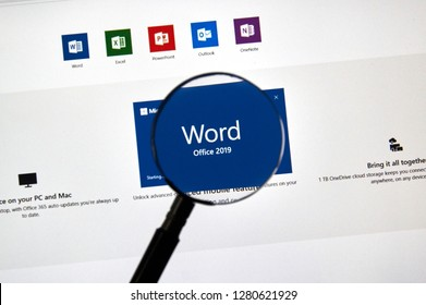 MONTREAL, CANADA - JANUARY 10, 2019: MIcrosoft Office Word 2019 app. Microsoft Office 2019 is the new version of Microsoft Office, a productivity suite, succeeding Office 2016