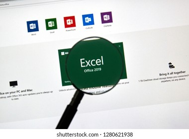 MONTREAL, CANADA - JANUARY 10, 2019: MIcrosoft Office 2019 Excel. Microsoft Office 2019 is the new version of Microsoft Office, a productivity suite, succeeding Office 2016