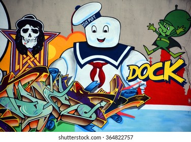 MONTREAL CANADA JANUARY 14 2016: Street art doughboy. Montreal is the perfect place to walk in the back alleys and abandoned areas, looking for street art.