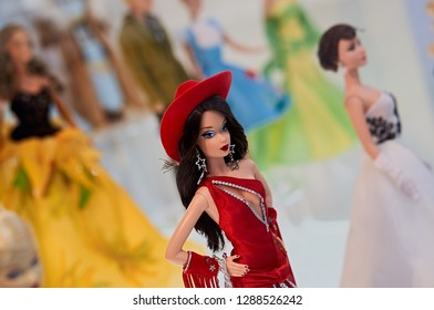 MONTREAL, CANADA - JANUARY 15 2019: Dolls at Barbie Expo. The exhibit is held at Les Cours Mont-Royal all year round since 2016. Many dolls are donated by collectors and designers.