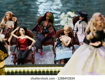 MONTREAL, CANADA - JANUARY 16 2019: Dolls at Barbie Expo. The exhibit is held at Les Cours Mont-Royal all year round since 2016. Many dolls are donated by collectors and designers.
