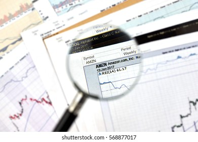 MONTREAL, CANADA - JANUARY 20, 2017 : Amazon stock exchange ticker under magnifying glass on candlestick background.