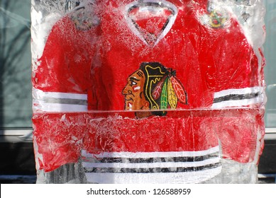 MONTREAL CANADA JANUARY 24: Chicago Blackkawks jersey in an ice block in front the Molson center of Montreal Canadians for the 57e All stars game on January 24 2009 in Montreal Canada