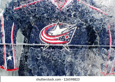 MONTREAL CANADA JANUARY 24: Columbus Blue Jackets jersey in an ice block in front the Molson center of Montreal Canadians for the 57e All stars game on January 24 2009 in Montreal Canada