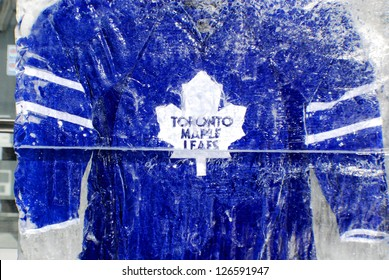 MONTREAL CANADA JANUARY 24: Toronto Maple Leafs jersey in an ice block in front the Molson center of Montreal Canadians for the 57e All stars game on January 24 2009 in Montreal Canada