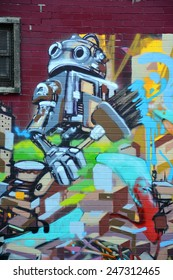 MONTREAL CANADA JANUARY 25: Street art Montreal robot on january 25 2015 in Montreal Canada. Montreal. is the perfect place to walk in the back alleys and abandoned areas, looking for street art.
