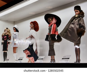 MONTREAL, CANADA - JANUARY 7 2019: Dolls at Barbie Expo. The exhibit is held at Les Cours Mont-Royal all year round since 2016. Many dolls are donated by collectors and designers.