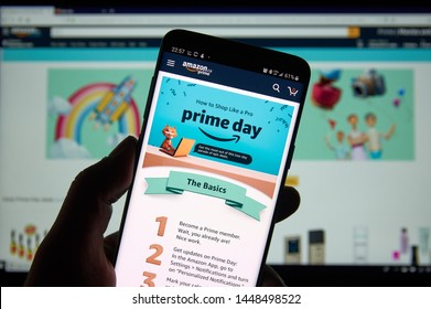 MONTREAL, CANADA - JULY 11, 2019 : Amazon prime day instruction on how to shop like a pro on a cell phone. Amazon Prime Day is the retailers big members-only summer sale in month of July each year