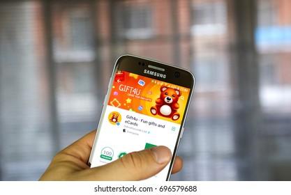 MONTREAL, CANADA - JULY 14, 2017 : Odnoklassniki Gift4U app on Samsung S7. Odnoklassniki, OK.ru is a social network service for classmates and old friends.