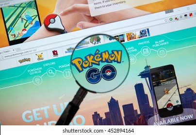 MONTREAL, CANADA - JULY, 14 : Pokemon Go home page under magnifying glass. Pokemon Go, a free-to-play augmented reality mobile game developed by Niantic for iOS and Android devices.