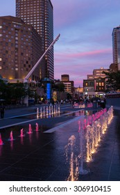 """MONTREAL, CANADA - JULY 16, 2015: """"Quartier des Spectacles"""" is an entertainment district located in  Downtown Montreal, designed as a centre for Montreal's cultural events and festivals."""