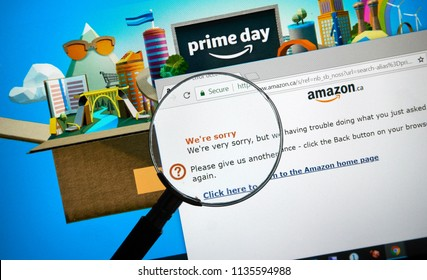 MONTREAL, CANADA - JULY 16, 2018 : Technical issue and we are sorry message on Amazon Prime day site. Amazon Prime Day is the retailer's big members-only summer sale in month of July each year.