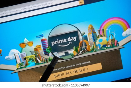 MONTREAL, CANADA - JULY 16, 2018 : Amazon prime day page on official amazon site under magnifying glass. Amazon Prime Day is the retailer's big members-only summer sale in month of July each year.